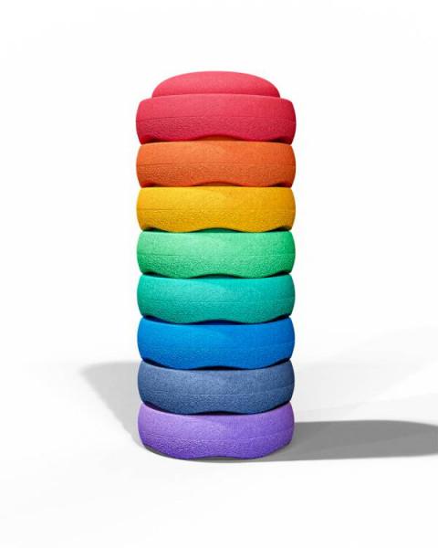 Stapelsteine | Regenbogen | Rainbow | Groß | 8 Stück | gestapelt