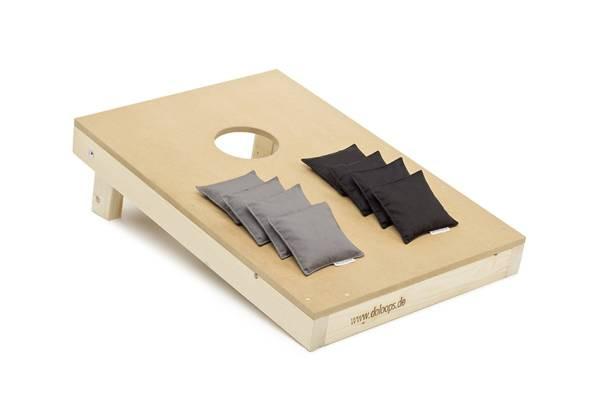 doloops | Original Cornhole Spielset | 1 Board und 8 Bags | Schwarz-grau